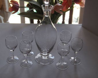 Etched Crystal Decanter and Glasses