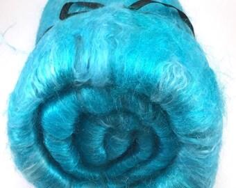 Spinning Fiber - Bright Blue alpaca, merino, silk, firestar smooth batt - Caribbean - 5.3 oz