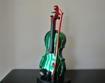 Miniature violin with bow and support-Musical - green and Red
