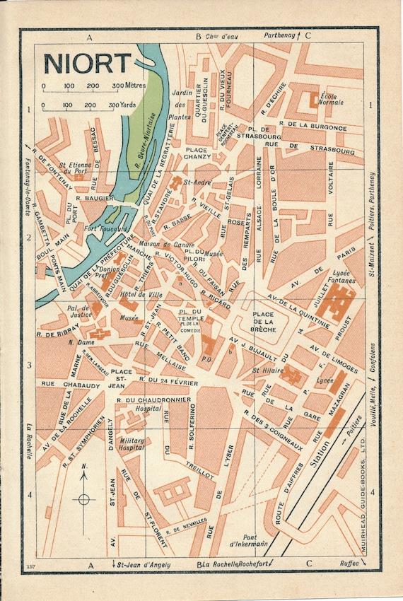 1932 Niort France Antique Map