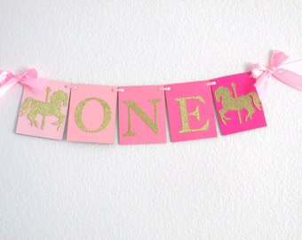 Pink Ombre Gold Party Decor, Pink Gold Carousel Party, Pink Ombre Gold First Birthday Decor, Carousel First Birthday, One Highchair Banner