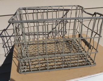 Vintage Meadow Gold Metal Wire Milk Crate.
