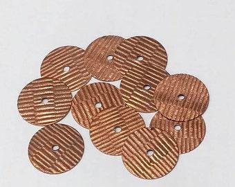 "Vintage RAW COPPER Stamping Round Corrugated Texture 3/4"" diameter NOS Pkg8  MS131"