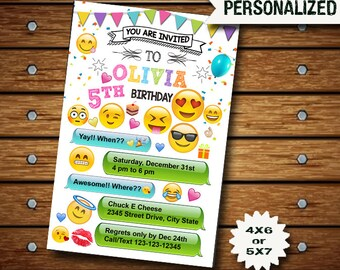 Emoji Invitation / Emoji Birthday / Emoji Party / Emoji Birthday Invitation / Emoji Printable / Emoji Card / Emoji Invite / Emoji