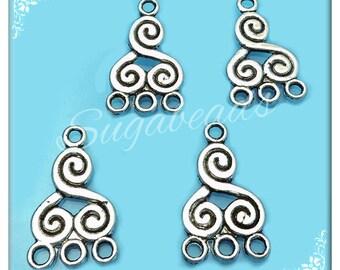 10 Antiqued Silver Spiral Connectors 21mm