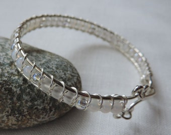 Silver Bangle with White Beads, Woven Argentium Silver Wire Bangle, White Bracelet, Woven Wire Bangle