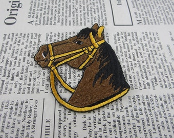 Brown Horse Embroidered Applique Iron On Patch