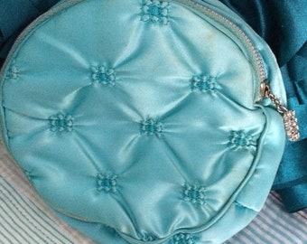 Birthday Sale Vintage Quilted and Velvet Cosmetic Bag