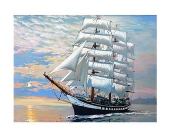 Vintage Sailboat DIY Paint by Number Kit Canvas + Paint + Brush Oil Painting Art Wall Decoration 40x50cm