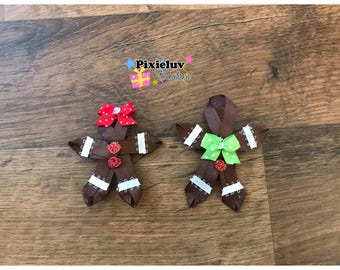 Christmas Collection of Hair Clips- Gingerbread man, Christmas Tree, Garland