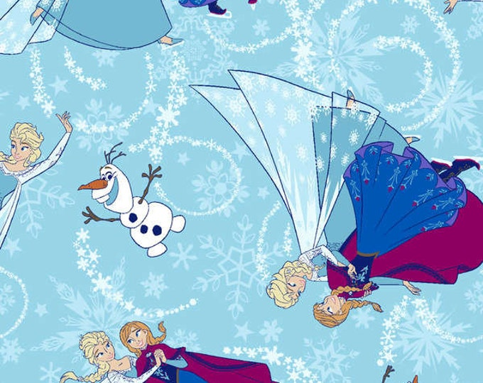 Frozen Children's Cotton Fabric from Disney Frozen from Springs Creative. Sisters skating multi colors of blue with glitter.