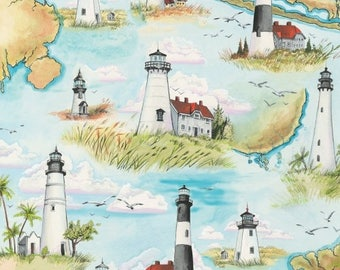High Tide by Whistler Studios for Windham Fabrics - Beach Fabric - Nautical Fabric - Light House Fabric 42817-2