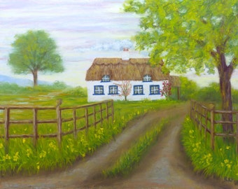 Original art - pastel painting of a cottage in the Lincolnshire Wolds of England.