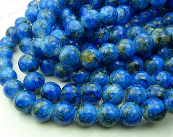 Bright Blue Round Glass Beads - 10mm Smooth Mottled Beads, Bohemian Beads - 20pcs - BN5