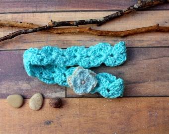 Headband crochet with flower light blue colors
