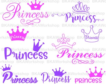Princess with Crown svg - Princess with Crown vector - Princess with Crown digital clipart for Design or more, files download svg, png, dxf