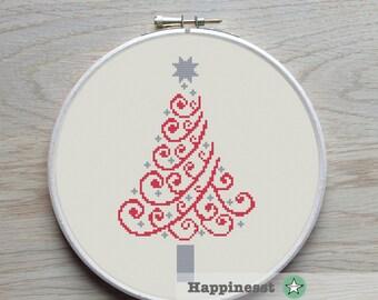 christmas cross stitch pattern, modern christmas tree,  modern cross stitch, PDF, ** instant download**