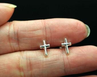 Sterling silver cross stud earrings, Sideways cross earring
