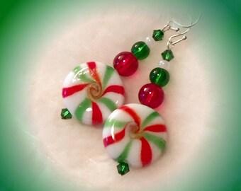 festive. Green Red Peppermint Earrings Christmas Earrings Holiday Earrings Lampwork Earrings Handmade Earrings Fun Earrings Glass Earrings