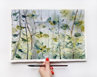 Forest wall art Trees Watercolor Watercolor forest landscape original painting