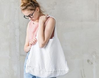 Large linen tote bag / linen beach bag / linen shopping bag in white