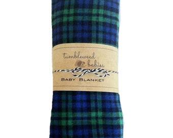 Blue Green Plaid Baby Receiving Blanket /Swaddle Blanket/Newborn Flannel Blanket
