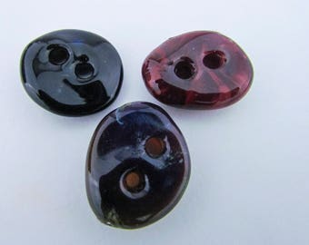Bouton deux trous à la main en verre trois bouton Set Murano Art verre fixation Boro à la main en verre soufflé un d'un genre Unique bouton rustique
