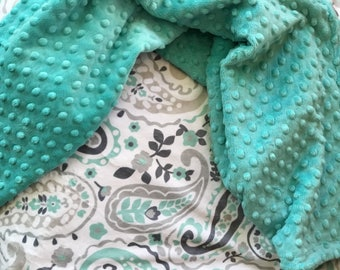 Minky Blanket in Dimple Dot Breeze/Paisley mint green/grey