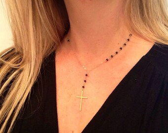 Rosary Necklace | Black and Gold Rosary Necklace | Gold Rosary | Religious | Cross