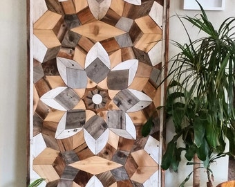 Large handcrafted geometric reclaimed wood wall art, headboard, or table top