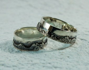 Carpathian Mountains Silver Rings, Mountain Ring, Wedding Band, Textured Landscape Ring, Custom Mountain Ring, Nature Ring, Mountains, Solid