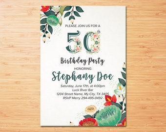 50th Birthday Invitation, 50th Floral Birthday Invitation, Adult Birthday Invitation, 50th Birthday