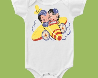 Vintage Airplane, One Piece Baby, Girls Pilot outfit, Boys Pilot Shirt, Twins Bodysuit, Baby Girls, Baby boysT-Shirt by ChiTownBoutique.etsy