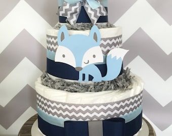 Fox Diaper Cake in Navy, Light Blue and Grey, Woodland Baby Shower Centerpiece for Boys, Decoration