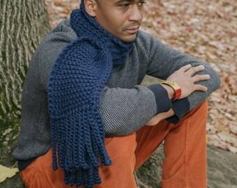 The Fleece Scarf in Black/Wool Crochet Scarf/Unisex Scarf/Chunky Crochet Scarf/ready to ship!