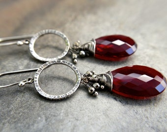 Hammered Sterling Silver Oxidized Circle Earrings / Red Garnet and Pyrite Earrings / Long Red Earrings / Statement Earrings / Bold Earrings