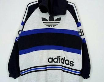 Rare!! ADIDAS three stripes hoodies nice design big logo pull over jumper multicoloured large size
