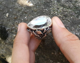 Large and Clear Quartz Ring - Handmade & Silver