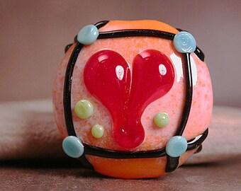Lampwork Heart Focal Bead, Art Glass Heart Bead, Glass Heart Bead, Divine Spark Designs, SRA