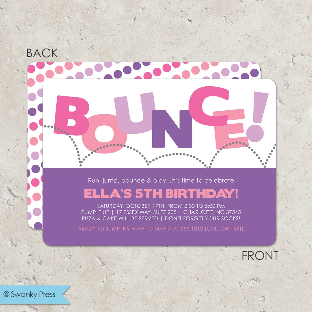 Trampoline Party Invitations: Bounce House Birthday Party Invitation For Girls Pump It Up