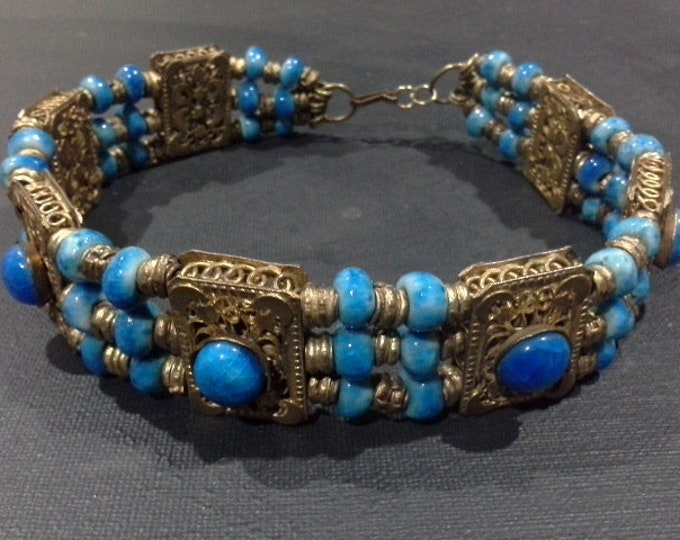 Antique Gold Plate Filigree Choker Collar Turquoise Blue Kiln Fired Ceramic Beaded Necklace Tribal Turkmen Middle Eastern Vintage