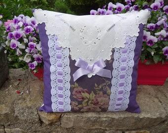 Purple, old linen cushion