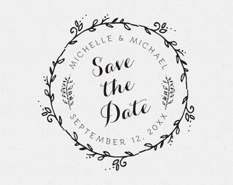 Save The Date Stamp, Wedding Favors Stamp, Self Inking Stamp, Rubber Stamp, Circle Stamp, Personalized Save The Date Stamp, Custom (T235)