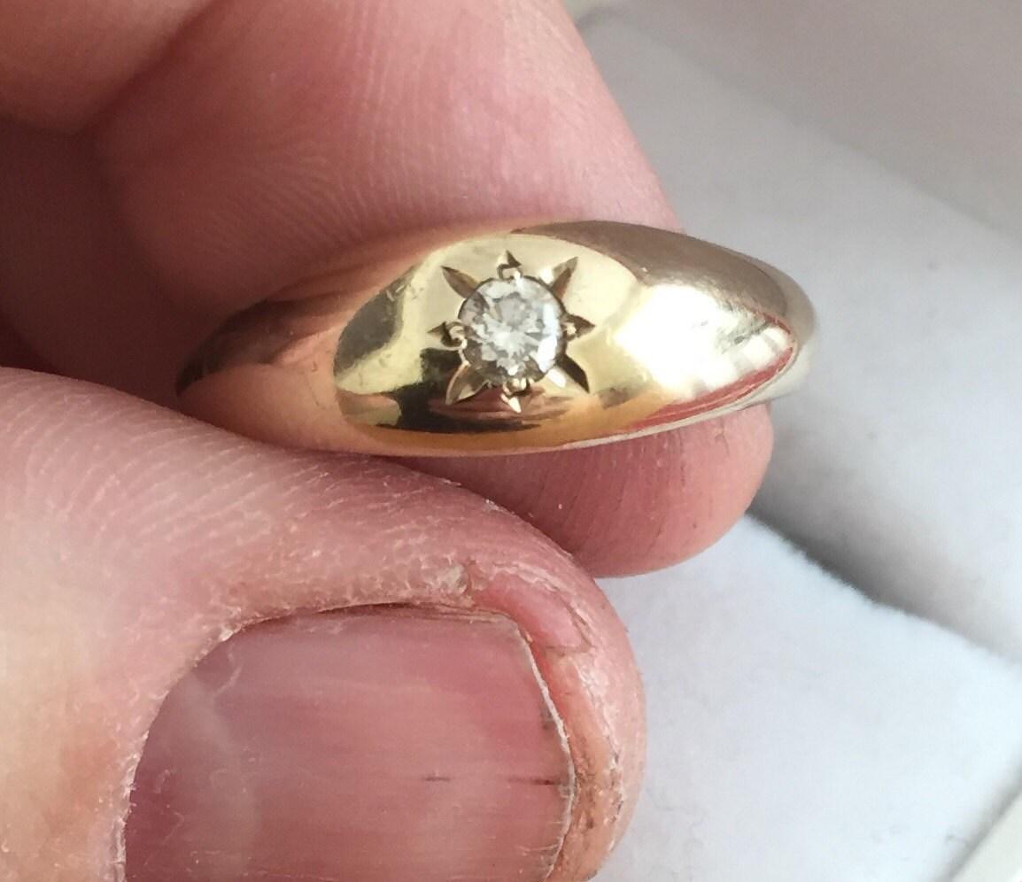 Superb vintage 9ct gold Men\'s diamond gypsy ring ***Reduced***