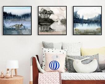 Set Of 3 Nature Prints. Set Of Three Paintings. Watercolour Art Prints.  Landscape