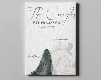 Personalized Wedding Canvas, Bridal Shower Gift, Wedding Present, Soulmates, Wedding Shoes, Personalized Wedding Gift, Wedding Decor