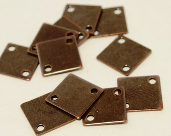 100 Pcs Copper Plated 9x9 mm Square Findings-2 Holes