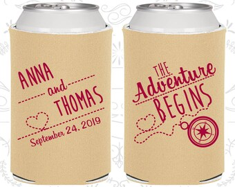 The Adventure Begins, Personalized Wedding, Compass, Destination Wedding Favors, Destination Favors, Wedding Can Coolers (284)