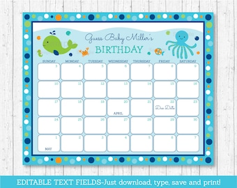 Under The Sea Baby Due Date Calendar / Under The Sea Baby Shower / Birthday Predictions / Guessing Game / INSTANT DOWNLOAD Editable PDF A229