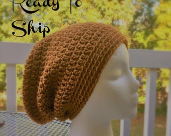 Ready To Ship Slouchy Hat Honey Brown Slouchy Beanie  Crochet Hat Beanie Women's Crochet Hat Accessories Gifts For Her